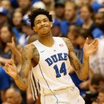 DURHAM, NC - DECEMBER 15:  Brandon Ingram #14 of the Duke Blue Devils reacts after a play during their game against the Georgia Southern Eagles at Cameron Indoor Stadium on December 15, 2015 in Durham, North Carolina.  (Photo by Streeter Lecka/Getty Images)