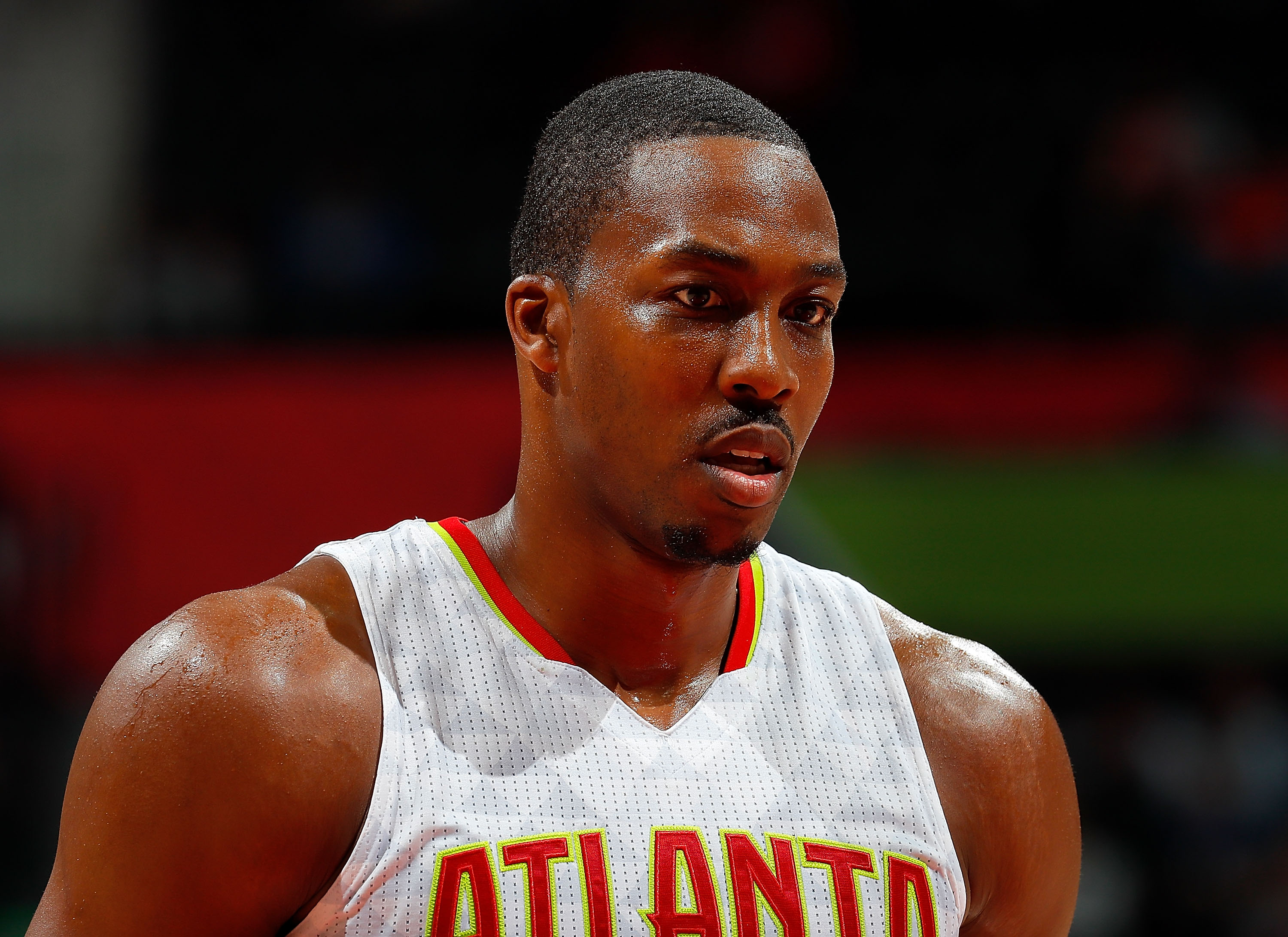 ATLANTA, GA - OCTOBER 13:  Dwight Howard #8 of the Atlanta Hawks looks on during the game against the Atlanta Hawks at Philips Arena on October 13, 2016 in Atlanta, Georgia.  NOTE TO USER User expressly acknowledges and agrees that, by downloading and or using this photograph, user is consenting to the terms and conditions of the Getty Images License Agreement.  (Photo by Kevin C. Cox/Getty Images)