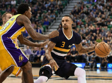 SALT LAKE CITY, UT - OCTOBER 28: George Hill #3 of the Utah Jazz controls the ball against the defense of Louis Williams #23 of the Los Angeles Lakers at Vivint Smart Home Arena on October 28, 2016 in Salt Lake City, Utah. NOTE TO USER: User expressly acknowledges and agrees that, by downloading and or using this photograph, User is consenting to the terms and conditions of the Getty Images License Agreement. (Photo by Gene Sweeney Jr/Getty Images)