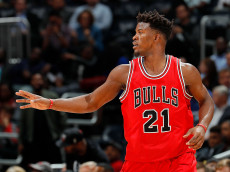 ATLANTA, GA - NOVEMBER 09:  Jimmy Butler #21 of the Chicago Bulls reacts after a basket against the Atlanta Hawks at Philips Arena on November 9, 2016 in Atlanta, Georgia.  NOTE TO USER User expressly acknowledges and agrees that, by downloading and or using this photograph, user is consenting to the terms and conditions of the Getty Images License Agreement.  (Photo by Kevin C. Cox/Getty Images)