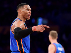 LOS ANGELES, CA - NOVEMBER 22:  Russell Westbrook #0 of the Oklahoma City Thunder calls for a foul during the first half against the Los Angeles Lakers at Staples Center on November 22, 2016 in Los Angeles, California.  NOTE TO USER: User expressly acknowledges and agrees that, by downloading and or using this photograph, User is consenting to the terms and conditions of the Getty Images License Agreement.  (Photo by Harry How/Getty Images)
