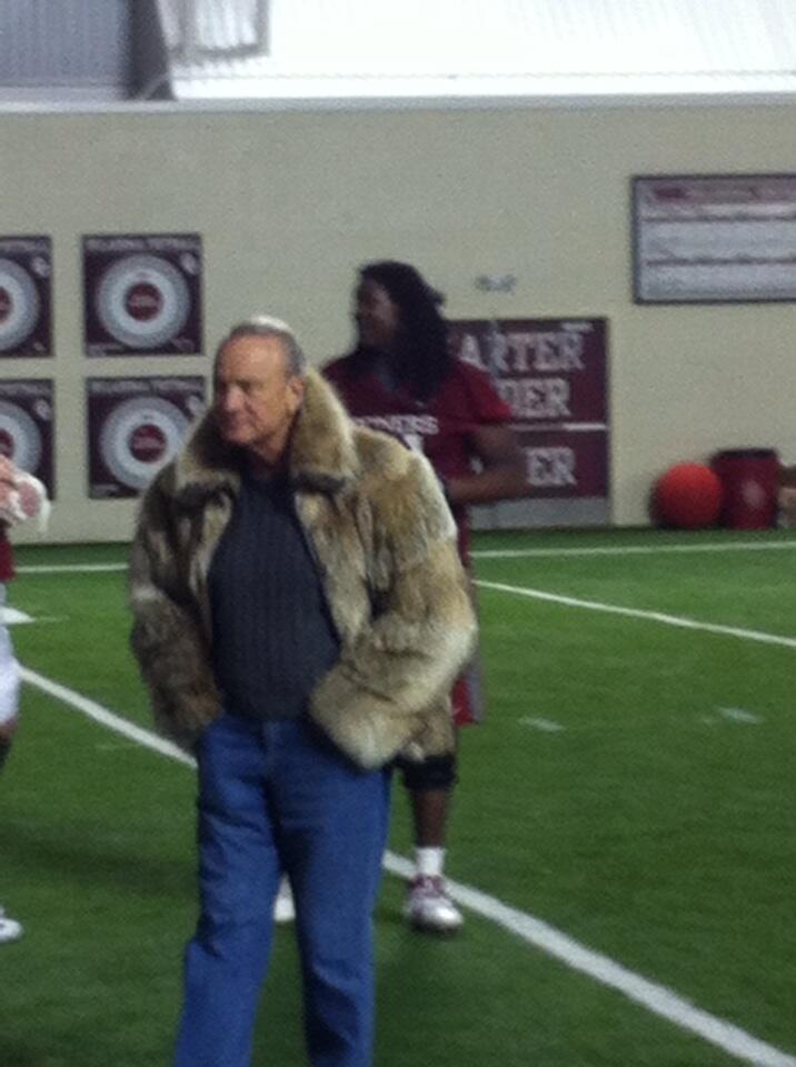 Barry Switzer in a fur coat