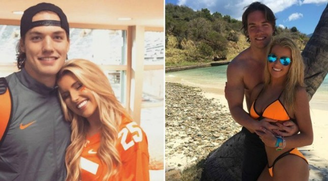 college football player's girlfriend making money off his fame but