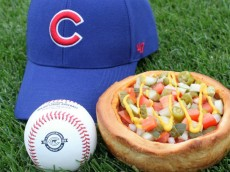 Cubs hot dog deep dish pizza