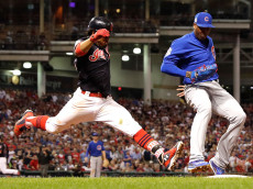 CLEVELAND, OH - NOVEMBER 01:  Aroldis Chapman #54 of the Chicago Cubs forces out Francisco Lindor #12 of the Cleveland Indians at first base to end the seventh inning in Game Six of the 2016 World Series at Progressive Field on November 1, 2016 in Cleveland, Ohio.  (Photo by Jamie Squire/Getty Images)