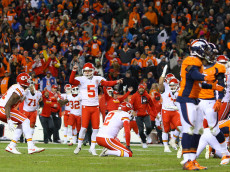 DENVER, CO - NOVEMBER 27:  Kicker Cairo Santos #5 of the Kansas City Chiefs celebrates after making the game-winning field goal in overtime against the Denver Broncos at Sports Authority Field at Mile High on November 27, 2016 in Denver, Colorado. (Photo by Justin Edmonds/Getty Images)