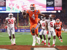 GLENDALE, AZ - DECEMBER 31:  Deshaun Watson #4 of the Clemson Tigers reacts after scoring a third quarter touchdown during the 2016 PlayStation Fiesta Bowl against the Ohio State Buckeyes at University of Phoenix Stadium on December 31, 2016 in Glendale, Arizona.  (Photo by Christian Petersen/Getty Images)