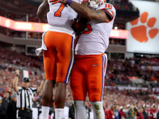 TAMPA, FL - JANUARY 09:  Wide receiver Mike Williams #7 of the Clemson Tigers celebrates with tight end Jordan Leggett #16 after scoring a 4-yard touchdown during the fourth quarter against the Alabama Crimson Tide in the 2017 College Football Playoff National Championship Game at Raymond James Stadium on January 9, 2017 in Tampa, Florida.  (Photo by Tom Pennington/Getty Images)