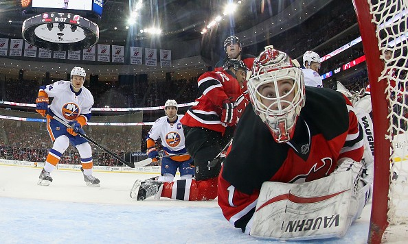 skates against the New Jersey Devils at the Prudential Center on January 9, 2015 in Newark, New Jersey. The Islanders defeated the Devils 3-2 in overtime.