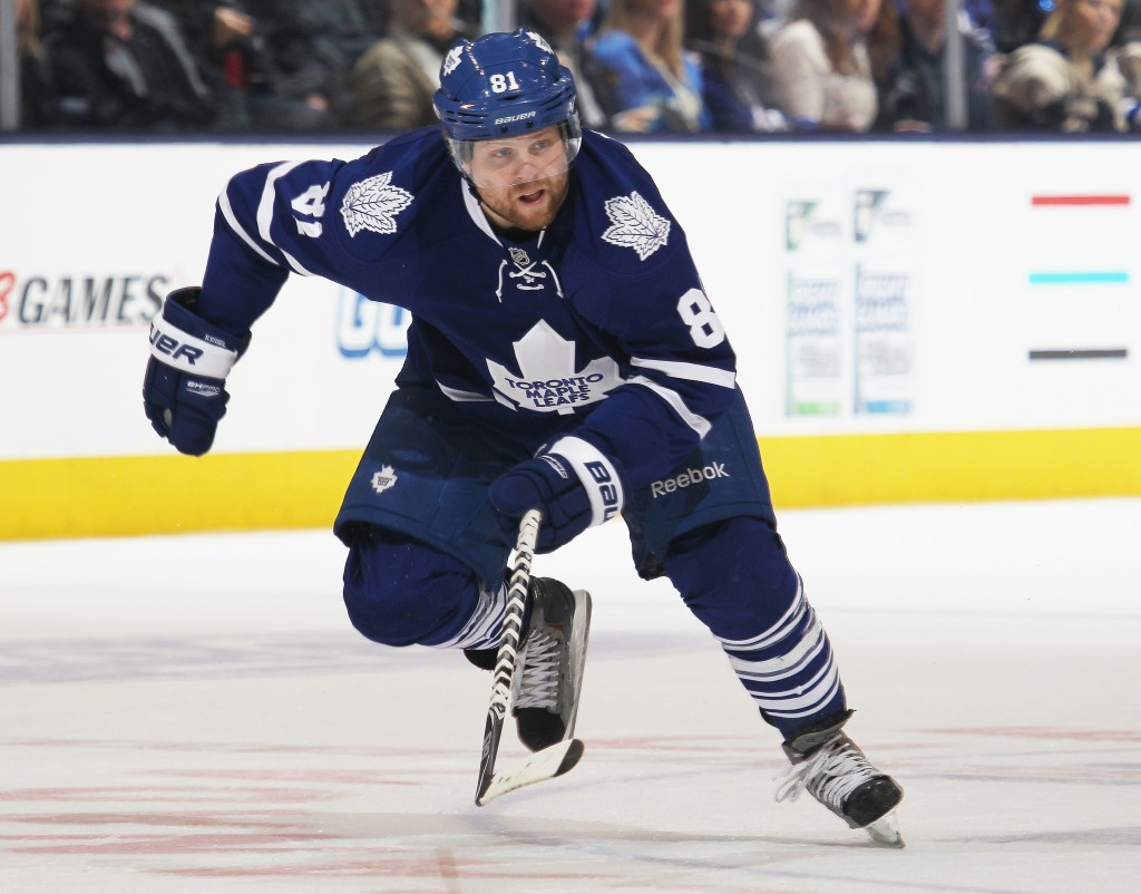 TORONTO, ON - APRIL 1:  Phil Kessel #81 of the Toronto Maple Leafs skates against the Calgary Flames during an NHL game at the Air Canada Centre on April 1, 2014 in Toronto, Ontario, Canada. The Leafs defeated the Flames 3-2. (Photo by Claus Andersen/Getty Images)