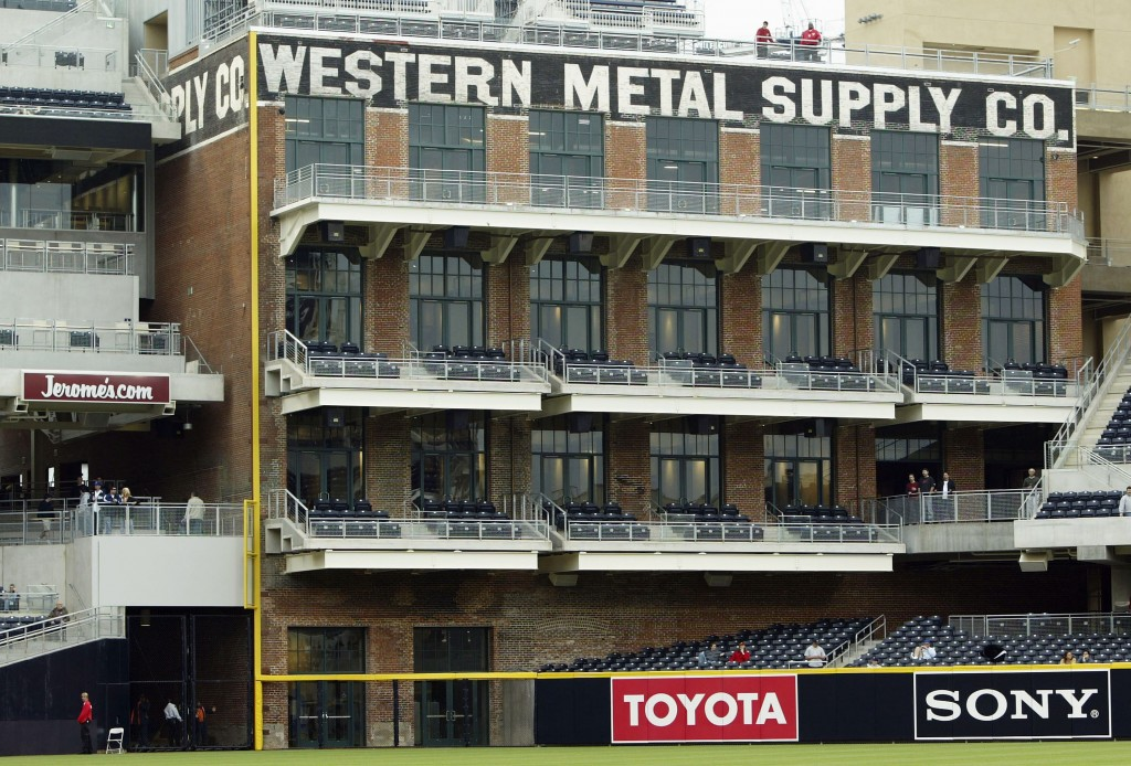 SAN DIEGO, CA - MARCH 12:  A general view of the Western Metal Supply Company building inside the newly constructed Petco Park, home to the San Diego Padres, during the Aztec Invitational college baseball tournament on March 12, 2004 in San Diego, California. (Photo by Jeff Gross/Getty Images)
