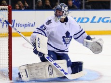 NEW YORK, NY - OCTOBER 30: Jonathan Bernier #45 of the Toronto Maple Leafs tends net against the New York Rangers at Madison Square Garden on October 30, 2015 in New York City. The Rangers defeated the Maple Leafs 3-1.  (Photo by Bruce Bennett/Getty Images)