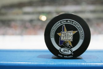 MANCHESTER - FEBRUARY 14:  A closeup shot of the hockey puck used between the Planet USA All Stars and the Canadian All Stars during the Dodge AHL All Star Classic on February 14, 2005 at Verizon Wireless Arena in Manchester, New Hampshire.  (Photo by Jim McIsaac/Getty Images)