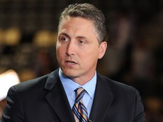 PITTSBURGH, PA - JUNE 22:  NHL Network broadcaster Darren Dreger of the NHL Network provides commentary prior to Round One of the 2012 NHL Draft at Consol Energy Center on June 22, 2012 in Pittsburgh, Pennsylvania.  (Photo by Brian Babineau/NHLI via Getty Images)