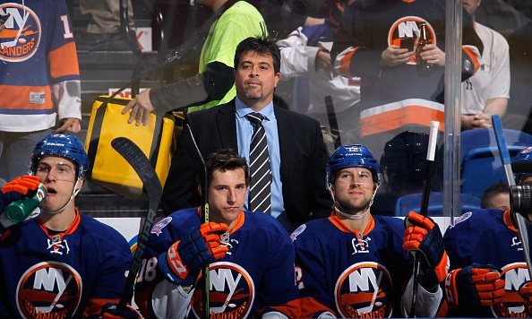 UNIONDALE, NY - JANUARY 16: Head coach Jack Capuano of the New York Islanders handles the bench against the New York Islanders at the Nassau Veterans Memorial Coliseum on January 16, 2015 in Uniondale, New York.  (Photo by Bruce Bennett/Getty Images)