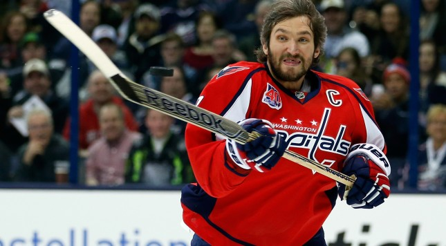 COLUMBUS, OH - JANUARY 24:  Alex Ovechkin #8 of the Washington Capitals and Team Foligno bats the puck during the Honda NHL Breakaway Challenge event of the 2015 Honda NHL All-Star Skills Competition at Nationwide Arena on January 24, 2015 in Columbus, Ohio.  (Photo by Gregory Shamus/Getty Images)