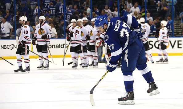 during Game Five of the 2015 NHL Stanley Cup Final at Amalie Arena on June 13, 2015 in Tampa, Florida.