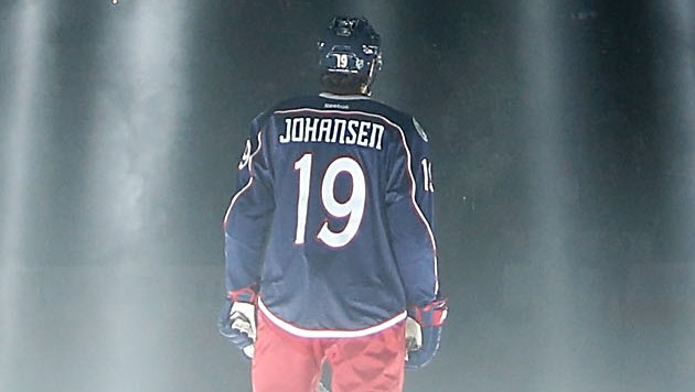 COLUMBUS, OH - OCTOBER 9:  Ryan Johansen #19 of the Columbus Blue Jackets is illuminated by spot lights while being introduced to the crowd prior to the start of the game against the New York Rangers on October 9, 2015 at Nationwide Arena in Columbus, Ohio. (Photo by Kirk Irwin/Getty Images)