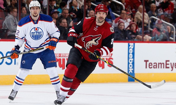 GLENDALE, AZ - NOVEMBER 12:  John Scott #28 of the Arizona Coyotes in action during the NHL game against the Edmonton Oilers at Gila River Arena on November 12, 2015 in Glendale, Arizona.  (Photo by Christian Petersen/Getty Images)