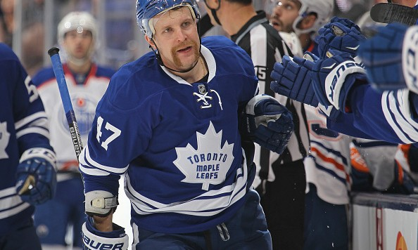 TORONTO, ON - NOVEMBER 30:  Leo Komarov #47 of the Toronto Maple Leafs celebrates a goal against the Edmonton Oilers during an NHL game at Air Canada Centre on November 30, 2015 in Toronto, Ontario, Canada. (Photo by Claus Andersen/Getty Images)