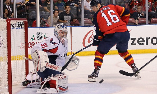 SUNRISE, FL - DECEMBER 10: Philipp Grubauer #31 of the Washington Capitals stops a shot from Aleksander Barkov #16 of the Florida Panthers during a game  at BB&T Center on December 10, 2015 in Sunrise, Florida.  (Photo by Mike Ehrmann/Getty Images)