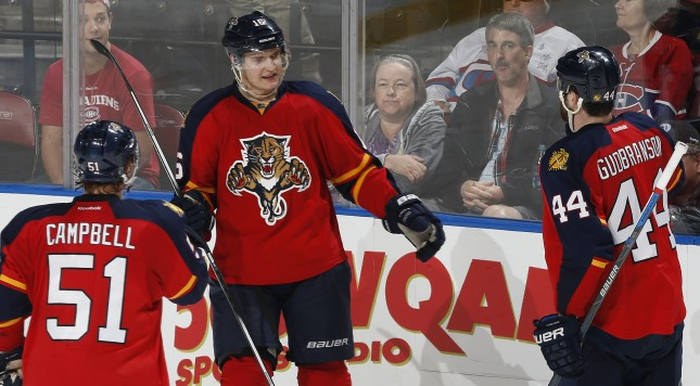 SUNRISE, FL - DECEMBER 29: Aleksander Barkov #16 is congratulated by Brian Campbell #51 and Erik Gudbranson #44 of the Florida Panthers after he scored his second goal of the game against the Montreal Canadiens at the BB&T Center on December 29, 2015 in Sunrise, Florida. The Panthers defeated the Canadiens 3-1. (Photo by Joel Auerbach/Getty Images)