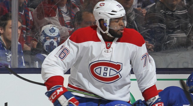 TORONTO, ON - JANUARY 23:  P.K. Subban #76 of the Montreal Canadiens takes down Byron Froese #56 of the Toronto Maple Leafs during an NHL game at the Air Canada Centre on January 23,2016 in Toronto, Ontario, Canada. The Canadiens defeated the Maple Leafs 3-2 in an overtime shoot-out. (Photo by Claus Andersen/Getty Images)
