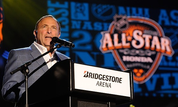 NASHVILLE, TENNESSEE - JANUARY 28:  NHL Commissioner Gary Bettman speaks at the Grand Opening Ceremony of the 2016 NHL All Star Festivities at the Bridgestone Winter Park Honda Stage at IntelliCentrics Outdoor Concert Series on January 28, 2016 in Nashville, Tennessee.  (Photo by Frederick Breedon IV/Getty Images)
