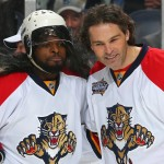 NASHVILLE, TN - JANUARY 30:  P.K. Subban #76 of the Montreal Canadiens (L) poses with Jaromir Jagr #68 of the Florida Panthers during the Honda NHL Breakaway Challenge during the 2016 Honda NHL All-Star Skill Competition at Bridgestone Arena on January 30, 2016 in Nashville, Tennessee.  (Photo by Bruce Bennett/Getty Images)