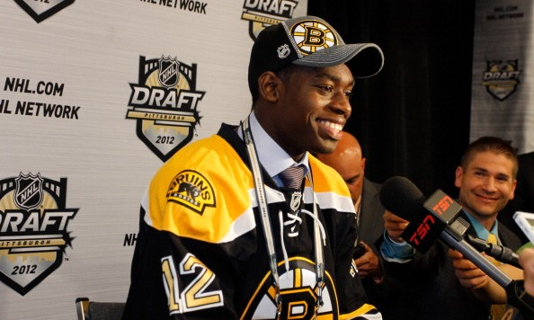 PITTSBURGH, PA - JUNE 22:  Malcolm Subban, 24th overall pick by the Boston Bruins, speaks to media during Round One of the 2012 NHL Entry Draft at Consol Energy Center on June 22, 2012 in Pittsburgh, Pennsylvania.  (Photo by Justin K. Aller/Getty Images)