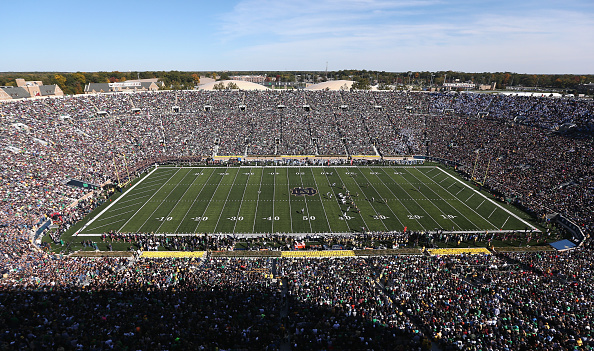 SOUTH BEND, IN - OCTOBER 11:  A general view of Notre Dame Stadium as the Notre Dame Fighting Irish take on the North Carolina Tar Heels on October 11, 2014 in South Bend, Indiana. Notre Dame defeated North Carolina 50-43.  (Photo by Jonathan Daniel/Getty Images)