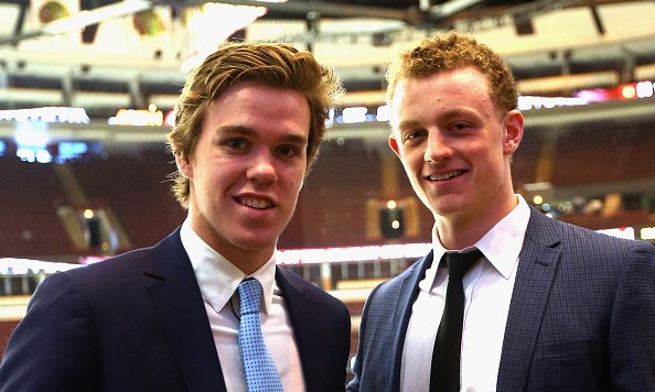 CHICAGO, IL - JUNE 08:  Upcoming NHL draft picks Connor McDavid (l) and Jack Eichel (r) take part in a  media availability at United Center on June 8, 2015 in Chicago, Illinois.  (Photo by Bruce Bennett/Getty Images)