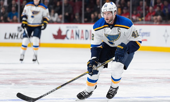 MONTREAL, QC - OCTOBER 20:  David Backes #42 of the St. Louis Blues skates during the NHL game against the Montreal Canadiens at the Bell Centre on October 20, 2015 in Montreal, Quebec, Canada.  The Montreal Canadiens defeated the St. Louis Blues 3-0.  (Photo by Minas Panagiotakis/Getty Images)