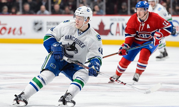 MONTREAL, QC - NOVEMBER 16:  Hunter Shinkaruk #48 of the Vancouver Canucks skates during the NHL game against the Montreal Canadiens at the Bell Centre on November 16, 2015 in Montreal, Quebec, Canada.  The Montreal Canadiens defeated the Vancouver Canucks 4-3 in overtime.  (Photo by Minas Panagiotakis/Getty Images)