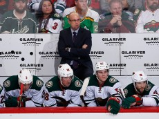 GLENDALE, AZ - DECEMBER 11:  Head coach Mike Yeo of the Minnesota Wild looks on from the bench during the second period of the NHL game against the Arizona Coyotes at Gila River Arena on December 11, 2015 in Glendale, Arizona.  (Photo by Christian Petersen/Getty Images)