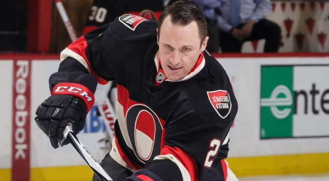 OTTAWA, ON - FEBRUARY 11: Dion Phaneuf #2 of the Ottawa Senators shoots the puck during warmups for the first time on home ice prior to an NHL game against the Colorado Avalanche at Canadian Tire Centre on February 11, 2016 in Ottawa, Ontario, Canada. (Photo by Jana Chytilova/Freestyle Photography/Getty Images)