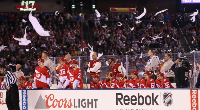 DENVER, CO - FEBRUARY 27:  As the wind picks up in the third period, cotton decorations take flight during the game between the Colorado Avalanche and the Detroit Red Wings at Coors Field during the 2016 Coors Light Stadium Series game on February 27, 2016 in Denver, Colorado.  (Photo by Doug Pensinger/Getty Images)