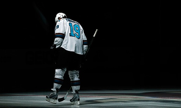GLENDALE, AZ - OCTOBER 02:  Joe Thornton #19 of the San Jose Sharks skates on the ice before the NHL preseason game against the Arizona Coyotes at Gila River Arena on October 2, 2015 in Glendale, Arizona.  (Photo by Christian Petersen/Getty Images)