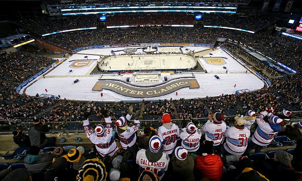 FOXBORO, MA - JANUARY 01: A general view as the Montreal Canadiens play the Boston Bruins in the third period during the 2016 Bridgestone NHL Winter Classic at Gillette Stadium on January 1, 2016 in Foxboro, Massachusetts.  (Photo by Jim Rogash/Getty Images)
