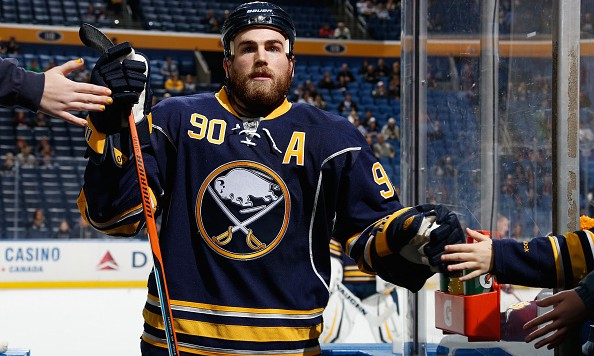 BUFFALO, NY - DECEMBER 17: Ryan O'Reilly #90 of the Buffalo Sabres heads to the locker room after warming up to play the Anaheim Ducks at First Niagara Center on December 17, 2015 in Buffalo, New York.  (Photo by Jen Fuller/Getty Images)