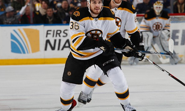 BUFFALO, NY - JANUARY 15: Zac Rinaldo #36 of the Boston Bruins skates against the Buffalo Sabres at First Niagara Center on January 15, 2016 in Buffalo, New York.  (Photo by Jen Fuller/NHLI via Getty Images)