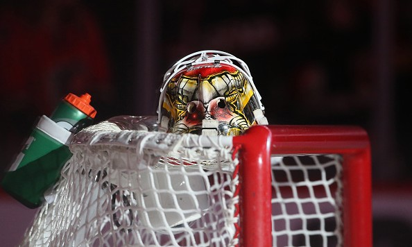 CALGARY, CANADA - FEBRUARY 27: The mask of Joni Ortio #37 of the Calgary Flames rests on top of the net before the start of their NHL game against the Ottawa Senators at the Scotiabank Saddledome on February 27, 2016 in Calgary, Alberta, Canada. (Photo by Tom Szczerbowski/Getty Images)