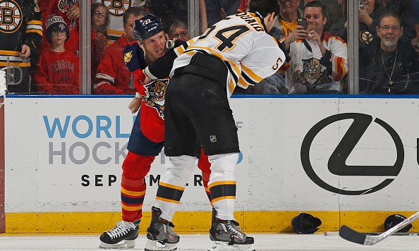 SUNRISE, FL - MARCH 7: Shawn Thornton #22 of the Florida Panthers and Adam McQuaid #54 of the Boston Bruins fight during the second period at the BB&T Center on March 7, 2016 in Sunrise, Florida. (Photo by Joel Auerbach/Getty Images)
