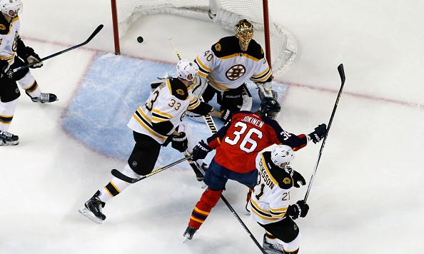 SUNRISE, FL - MARCH 7: Jussi Jokinen #36 of the Florida Panthers scores a goal past Goaltender Tuukka Rask #40 of the Boston Bruins during second period action at the BB&T Center on March 7, 2016 in Sunrise, Florida. The Bruins defeated the Panthers 5-4. (Photo by Joel Auerbach/Getty Images)