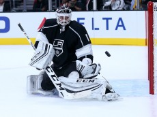 LOS ANGELES, CA - SEPTEMBER 29:  Goalie Jhonas Enroth #1 of the Los Angeles Kings makes a save against the Anaheim Ducks during preseason at Staples Center on September 29, 2015 in Los Angeles, California.  The Ducks won 2-1 in overtime.  (Photo by Stephen Dunn/Getty Images)