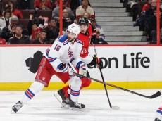 OTTAWA, ON - NOVEMBER 14: Mika Zibanejad #93 of the Ottawa Senators battles for position against Derick Brassard #16 of the New York Rangers during an NHL game at Canadian Tire Centre on November 14, 2015 in Ottawa, Ontario, Canada.  (Photo by Jana Chytilova/Freestyle Photography/Getty Images) *** Local Caption *** Derick Brassard;Mika Zibanejad