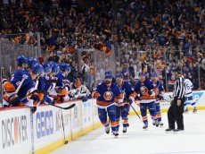 in Game Three of the Eastern Conference Second Round during the 2016 NHL Stanley Cup Playoffs at the Barclays Center on May 03, 2016 in the Brooklyn borough of New York City.