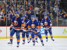 NEW YORK, NY - MAY 03:  Josh Bailey #12 of the New York Islanders (l) celebrates his second goal of the game against the Tampa Bay Lightning at 2:27 of the third period on the powerplay in Game Three of the Eastern Conference Second Round during the 2016 NHL Stanley Cup Playoffs at the Barclays Center on May 03, 2016 in the Brooklyn borough of New York City.  (Photo by Bruce Bennett/Getty Images)