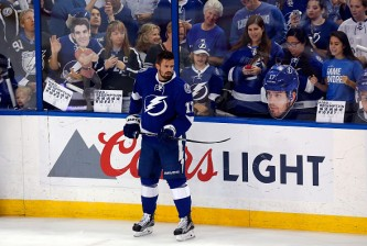 TAMPA, FL - MAY 18:  Alex Killorn #17 of the Tampa Bay Lightning looks on prior to Game Three of the Eastern Conference Final against the Pittsburgh Penguins during the 2016 NHL Stanley Cup Playoffs at Amalie Arena on May 18, 2016 in Tampa, Florida.  (Photo by Mike Carlson/Getty Images)