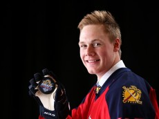 SUNRISE, FL - JUNE 26:  Lawson Crouse poses for a portrait after being selected 11th overall by the Florida Panthers during the 2015 NHL Draft at BB&T Center on June 26, 2015 in Sunrise, Florida.  (Photo by Mike Ehrmann/Getty Images)